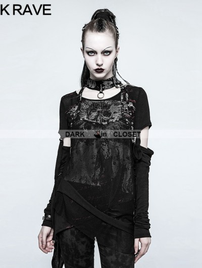 Punk Rave Black Gothic Punk Japanese Two-Piece Set T-shirt for Women