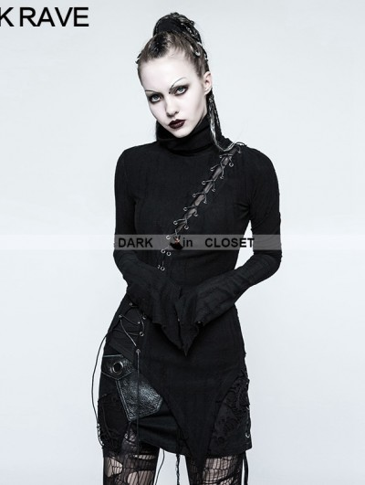 Punk Rave Black Gothic Punk Stand-up Collar Broken Seam T-shirt for Women