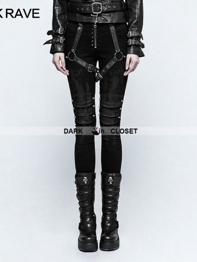 Punk Rave Black Gothic Punk Armor Brush Gum Pants for Women