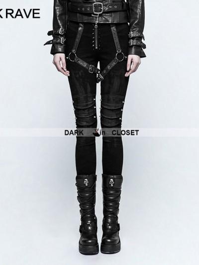 Punk Rave Black Gothic Punk Armor Brush Gum Pants for Women