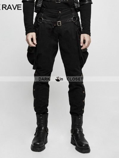 Punk Rave Black Gothic Steampunk Riding Breeches for Men