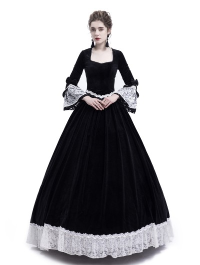 Rose Blooming Black Velvet Civil War Queen Theatrical Victorian Costume Dress