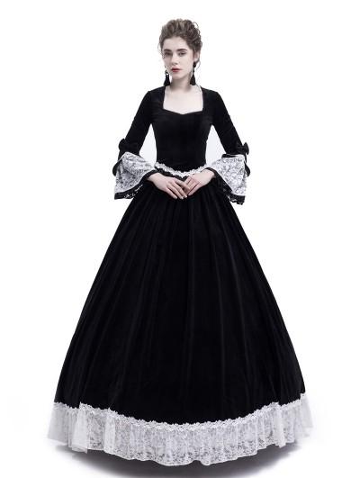 Rose Blooming Black Velvet Civil War Queen Theatrical Victorian Costume Dress