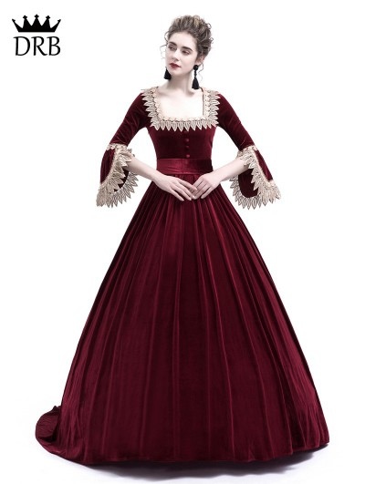 Rose Blooming Wine Red Velvet Ball Gown Theatrical Victorian Gown