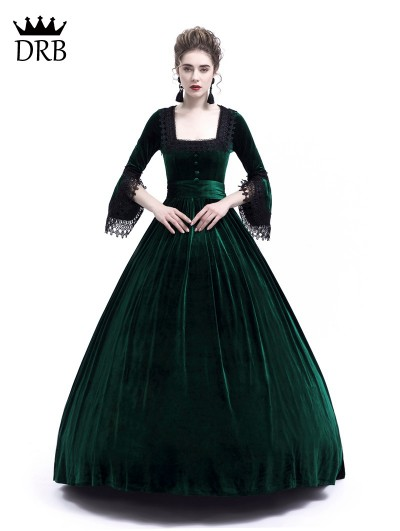 Rose Blooming Green Velvet Ball Gown Theatrical Victorian Gown