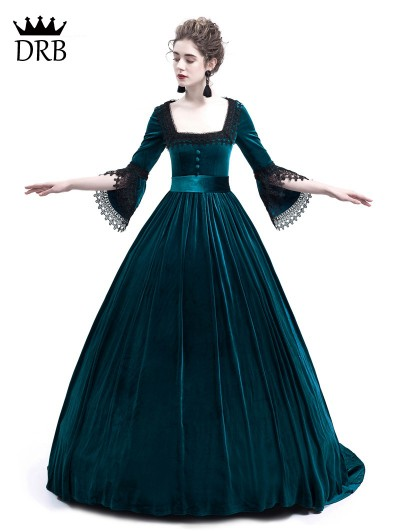 Rose Blooming Blue Velvet Ball Gown Theatrical Victorian Gown