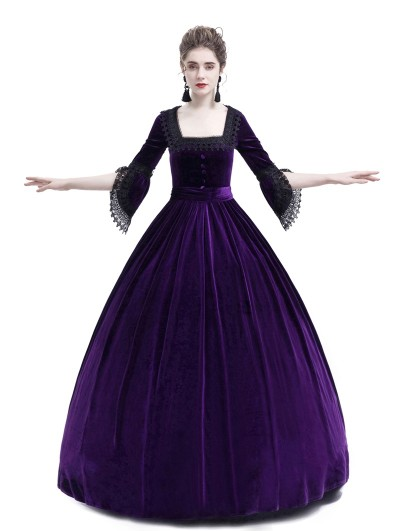 Rose Blooming Purple Velvet Ball Gown Theatrical Victorian Gown