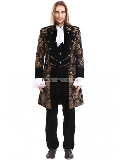Pentagramme Gold Printing Pattern Gothic Swallow Tail Jacket for Men