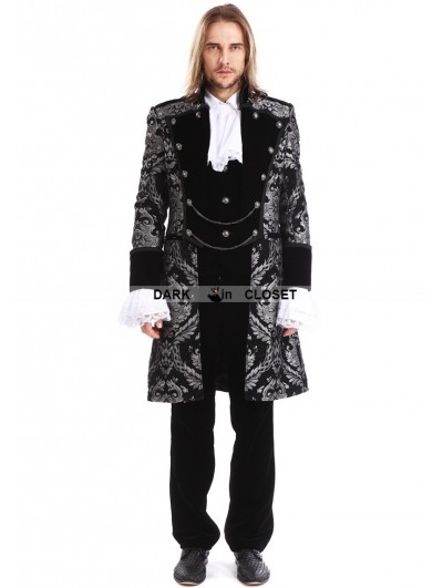 Pentagramme Sliver Printing Pattern Gothic Swallow Tail Jacket for Men