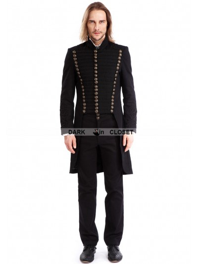 Pentagramme Black Gothic Vintage Swallow Tail Coat for Men