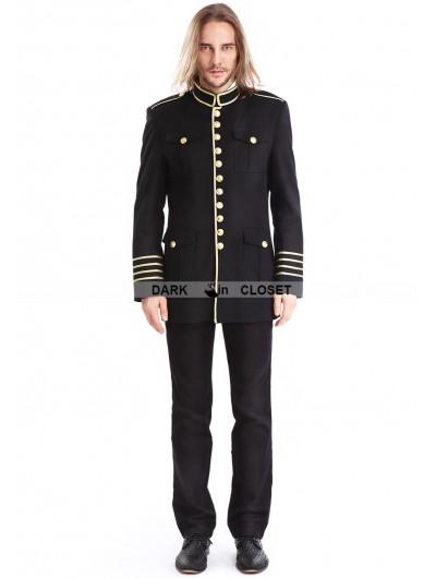 Pentagramme Black Mens Gothic Military Uniform Jacket
