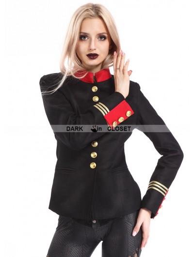 Pentagramme Black Gothic Military Uniform Jacket for Women