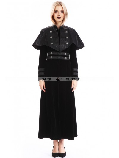 Pentagramme Black Velvet Gothic Long Cape Coat for Women