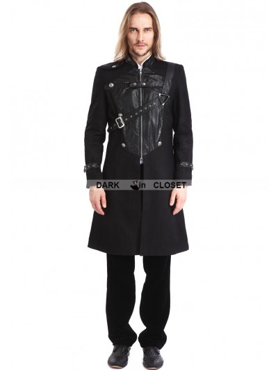 Pentagramme Black Gothic Punk Belt Coat for Men