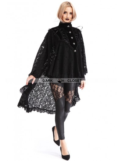 Pentagramme Black Gothic Lace High-Low Cape for Women