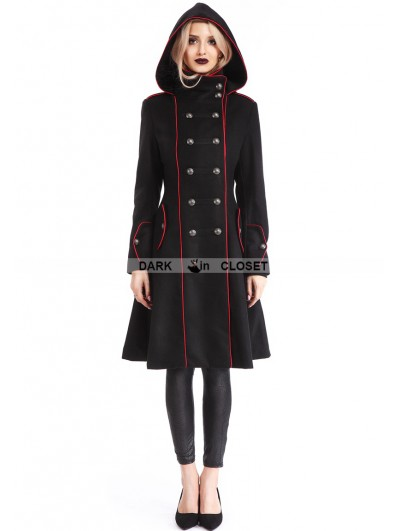 Pentagramme Black Gothic Hooded Double-Breasted Coat for Women