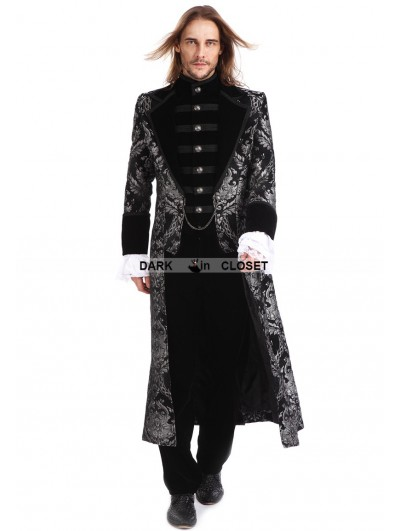 Pentagramme Sliver Printing Pattern Gothic Swallow Tail Long Coat for Men