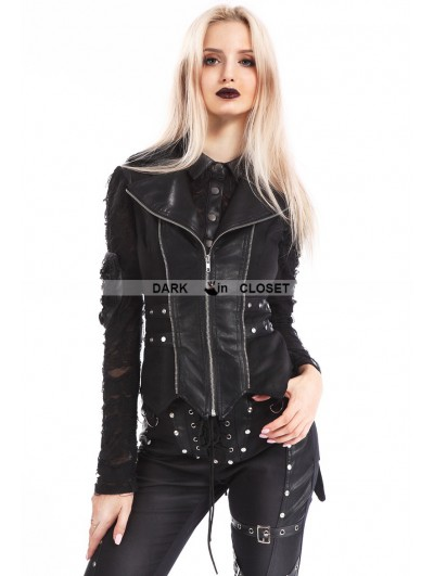 Pentagramme Black Gothic Punk Swallow Tail Waistcoat for Women
