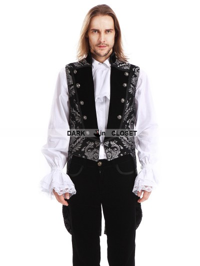 Pentagramme Silver Printing Pattern Gothic Swallow Tail Vest for Men
