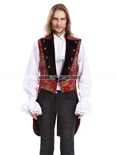 Pentagramme Red Printing Pattern Gothic Swallow Tail Vest for Men
