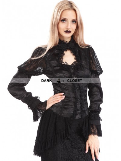 Pentagramme Black Vintage Long Sleeves Asymmetric Gothic Shirt for Women