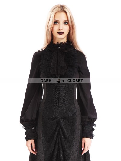 Pentagramme Black Vintage Gothic Bowtie Blouse for Women