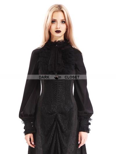 Pentagramme Black Vintage Gothic Bowtie Blouse for Women