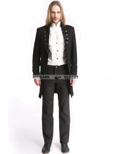 Pentagramme Black Vintage Pattern Gothic Swallow Tail Jacket for Men