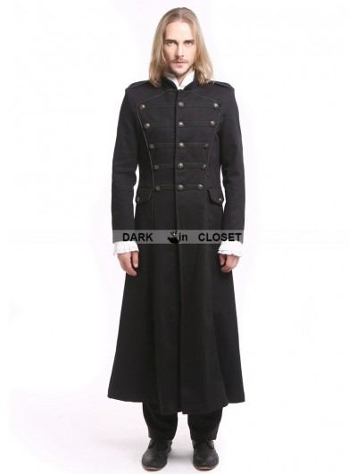 Pentagramme Black Vintage Gothic Long Trench Coat for Men