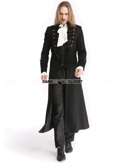 Pentagramme Black Vintage Pattern Gothic Long Double-Breasted Trench Coat for Men