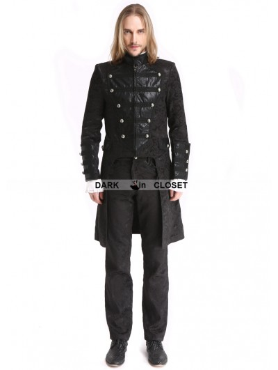 Pentagramme Black Vintage Pattern Gothic Double-Breasted Swallow Tail Jacket for Men