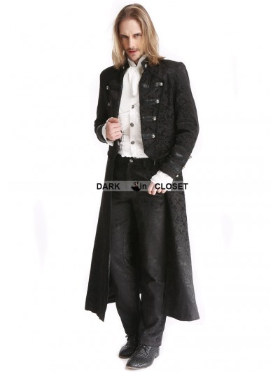 Pentagramme Black Vintage Pattern Gothic Two Wear Double-Breasted Coat for Men