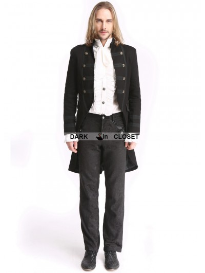 Pentagramme Black Vintage Palace Style Gothic Swallow Tail Jacket for Men