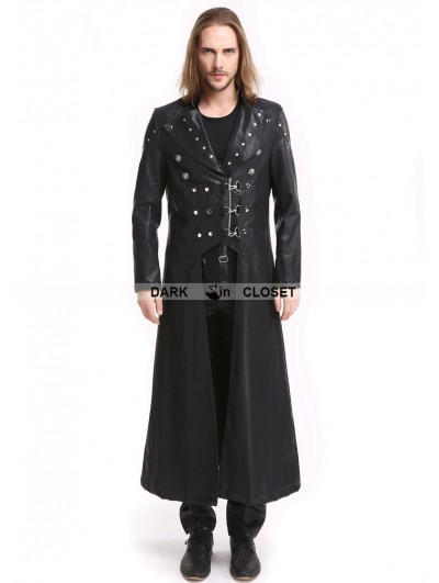 Pentagramme Black PU Leather Gothic Punk Military Style Long Trench Coat for Men