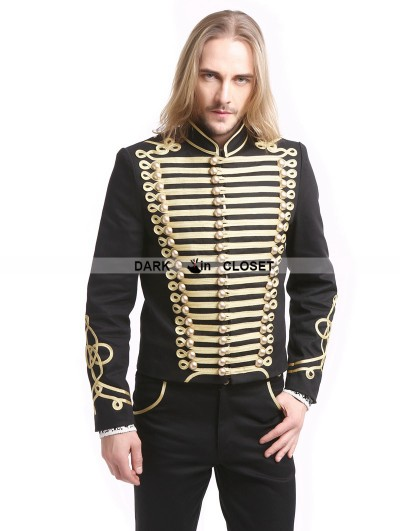 Pentagramme Black Gold Vintage Gothic Palace Style Short Jacket for Men