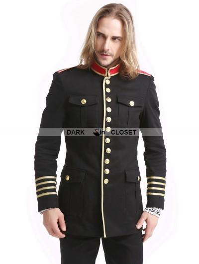 Pentagramme Black Gothic Military Uniform Jacket for Men