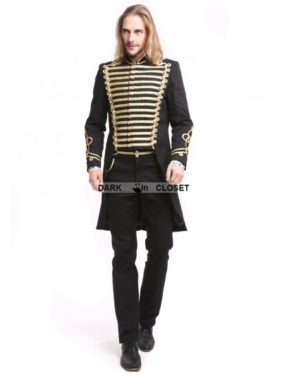 Pentagramme Black Gothic Vintage Palace Style Swallow Tail Coat for Men