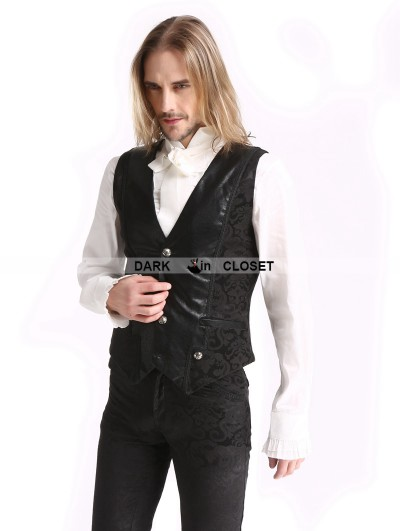 Pentagramme Black Vintage Pattern Gothic Vest for Men