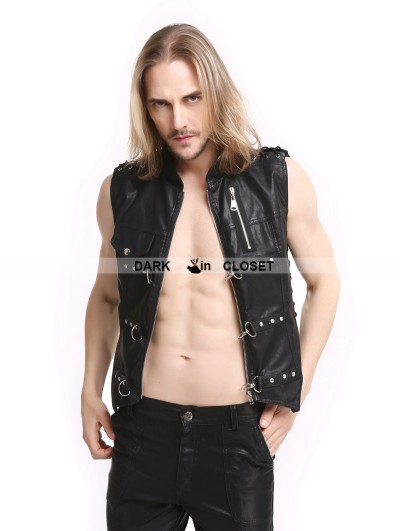 Pentagramme Black PU Leather Rivets Gothic Punk Waistcoat for Men