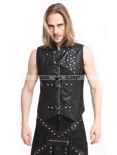 Pentagramme Black PU Leather Gothic Punk Waistcoat for Men