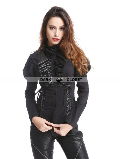 Pentagramme Black Gothic Bubble Sleeves Blouse for Women