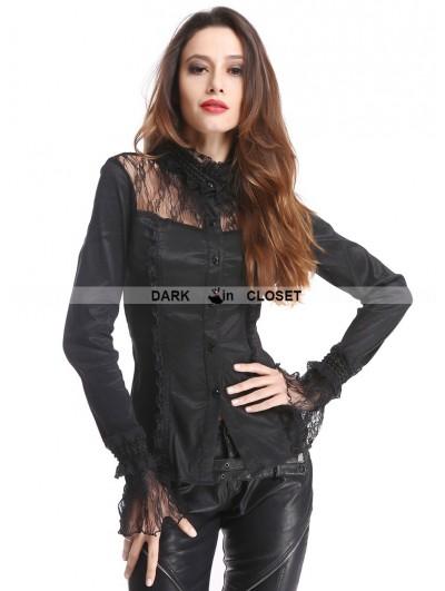 Pentagramme Black Long Sleeves Beading Gothic Blouse for Women