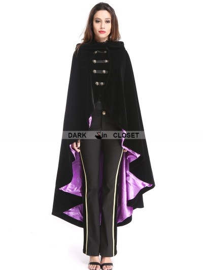 Pentagramme Black and Purple Gothic Female Woolen Long Hoodie Cape