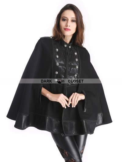 Pentagramme Black Vintage Gothic Double-Breasted Cape for Women