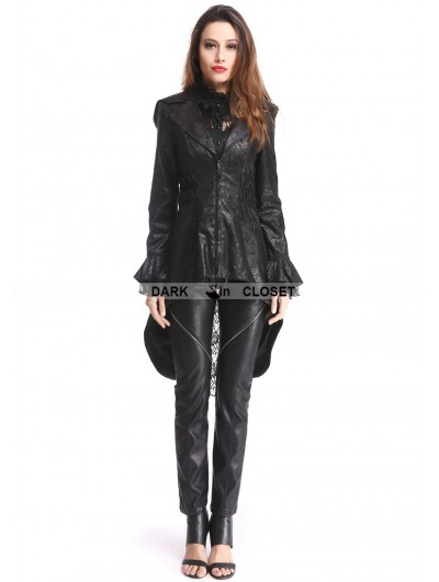 Pentagramme Black Gothic PU Leather Swallow Tail Jacket for Women