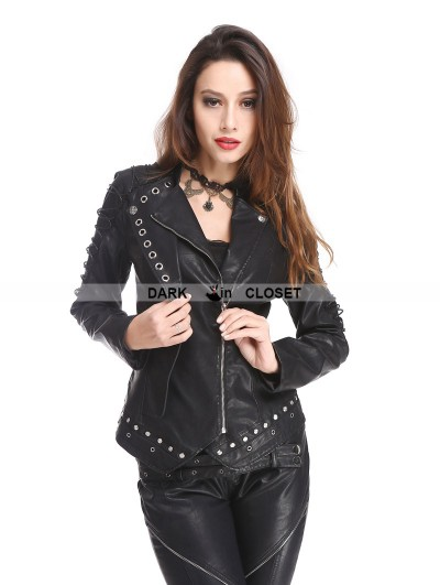 Pentagramme Black PU Leather Rivets Gothic Punk Short Jacket for Women