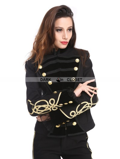 Pentagramme Black and Gold Gothic Military Uniform Short Jacket for Women