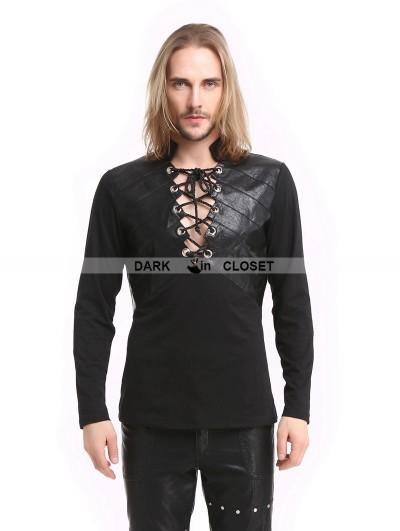 Pentagramme Black Gothic Warrior Long Sleeves T-Shirt for Men
