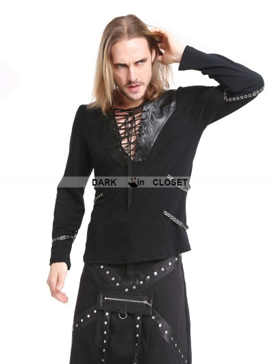 Pentagramme Black Gothic Punk Rivet Belt Long Sleeves T-Shirt for Men