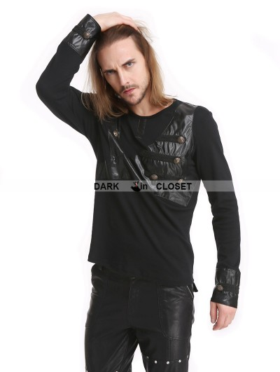 Pentagramme Black Gothic Button Long Sleeves T-Shirt for Men